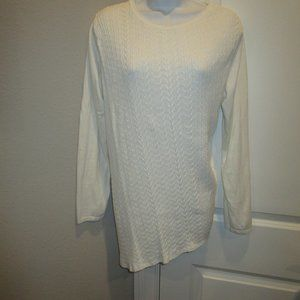 KIM ROGERS CABLEKNIT ASYMETRICAL SWEATER